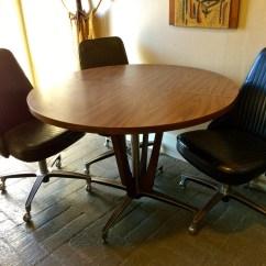 Chromcraft Chairs Vintage Kelsyus Beach Canopy Chair Mid Century Modern Chrome Wood Dining Table 5