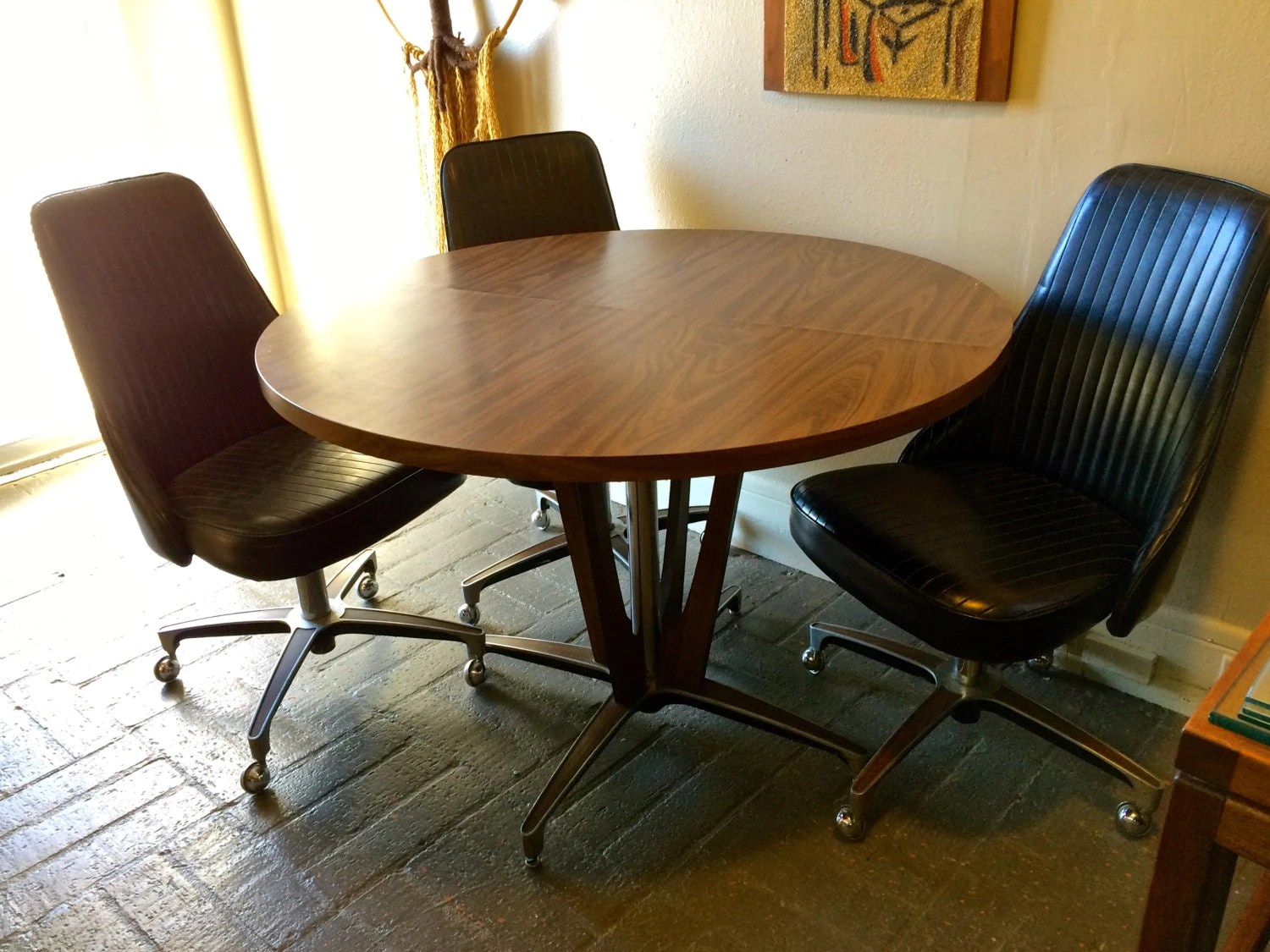 Chromcraft Dining Chairs 1966 Mid Century Modern Chromcraft Pedestal Dining Table 5