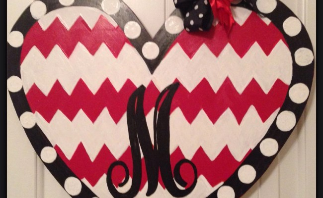 Chevron Heart Valentines Day Door Hanger Happy Valentines
