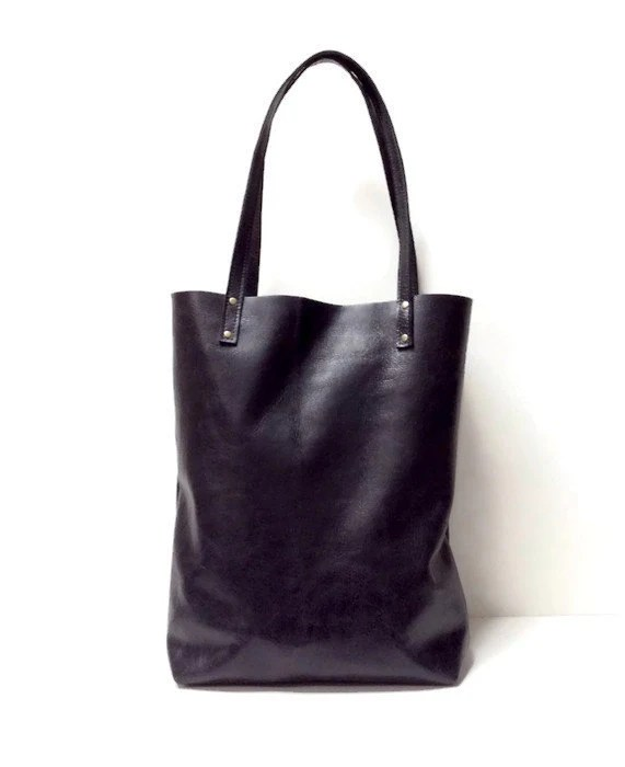 Black Leather Tote Bag Simple Market Tote Bag Black
