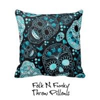 Sugar Skull Pillow Throw Pillows Teal Turquoise Floral