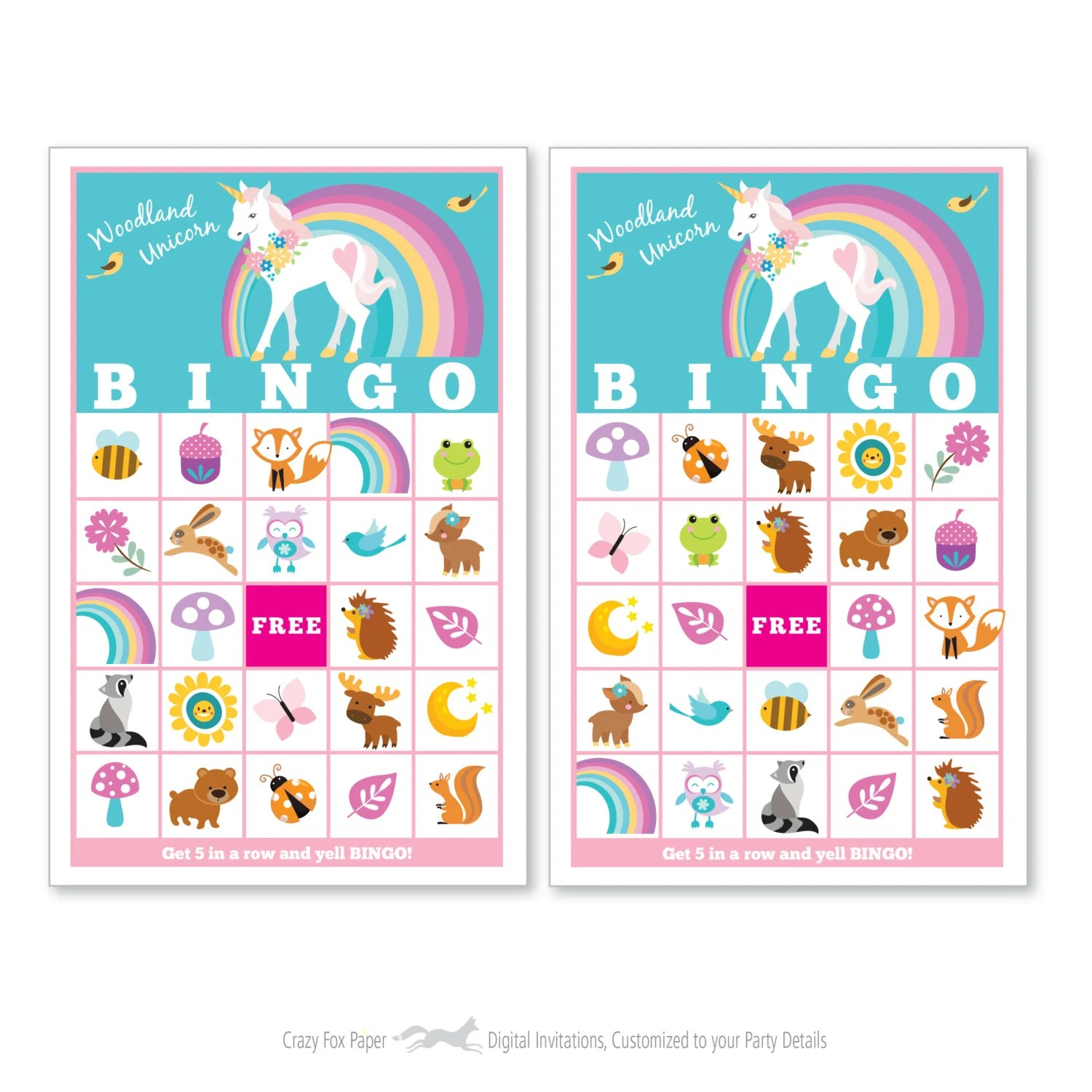 Woodland Unicorn Bingo Game Kid S Printable Bingo Game