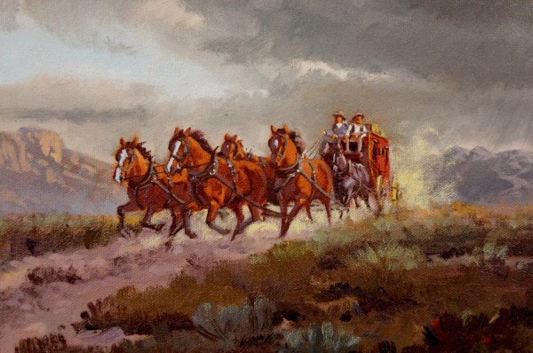 Western Artist Ron Stewart Stage Coach Oil Painting