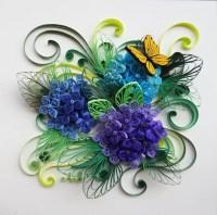 Handmade paper quilling Hydrangeas framed in shadow box