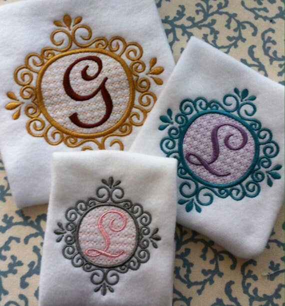 Elegant Classy Monogram Embroidery Design Set Fancy Script