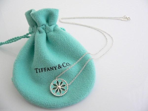 Tiffany & Silver Blue Enamel Daisy Flower Necklace Pendant