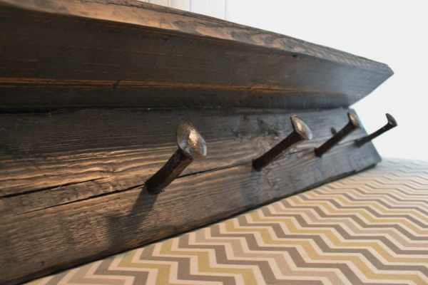 Wood Coat Rack with Railroad Spikes