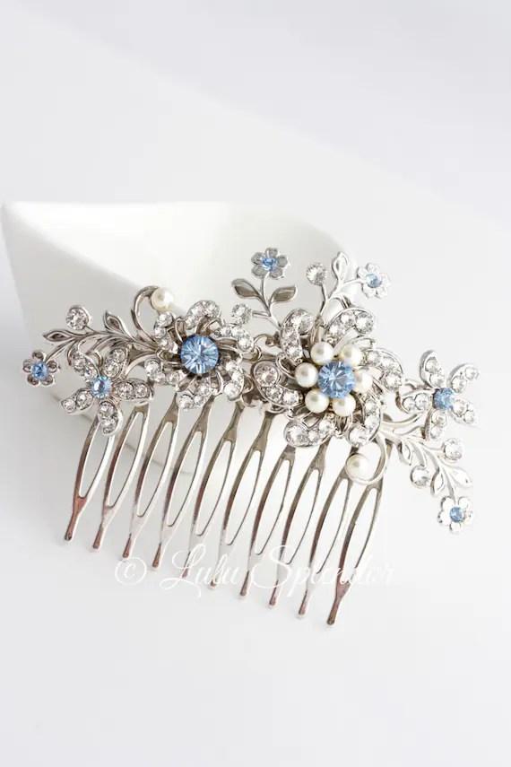 Wedding Hair Comb Light Sapphire Blue Bridal Hair Accessories