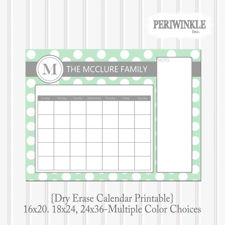 Dry Erase Calendar Printable Cutomizable Mulitple By