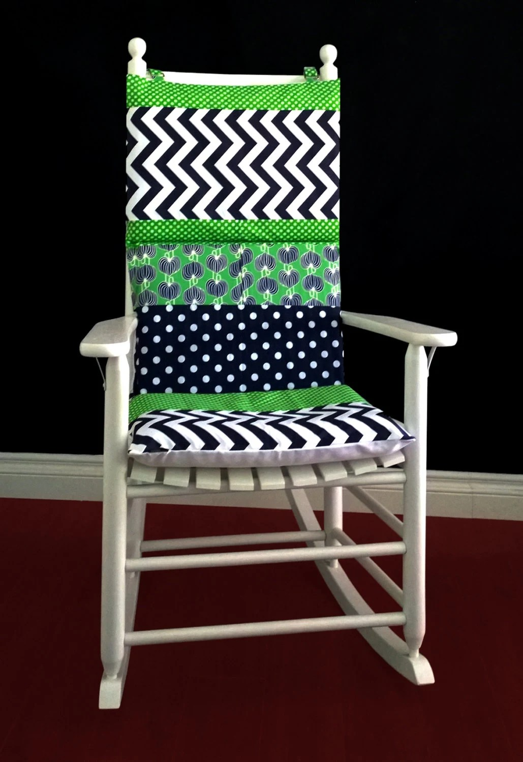 Green Chair Covers Rocking Chair Cushion Cover Blue Green Polka Dot Chevron