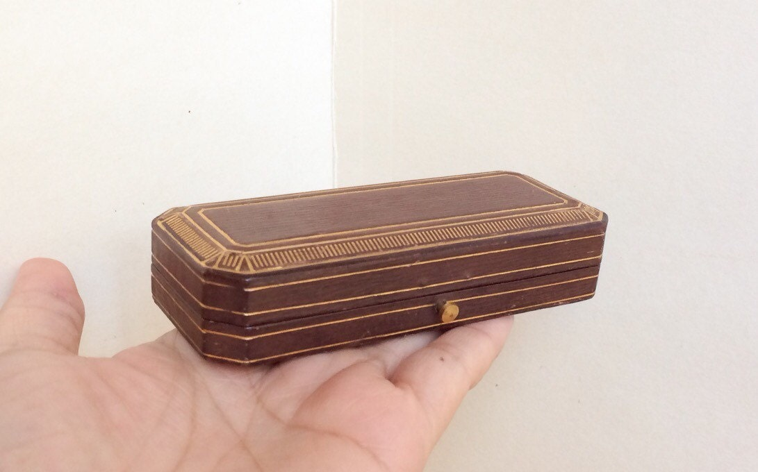 Fine Tiffany Amp Co Jewelry Box Gilt Red Brown Leather Heirloom