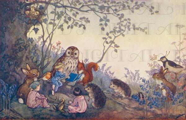 Woodland Animals Read Elves & Children. Vintage Storybook