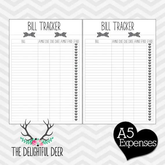 Items similar to Filofax Printable A5 Bill Tracker