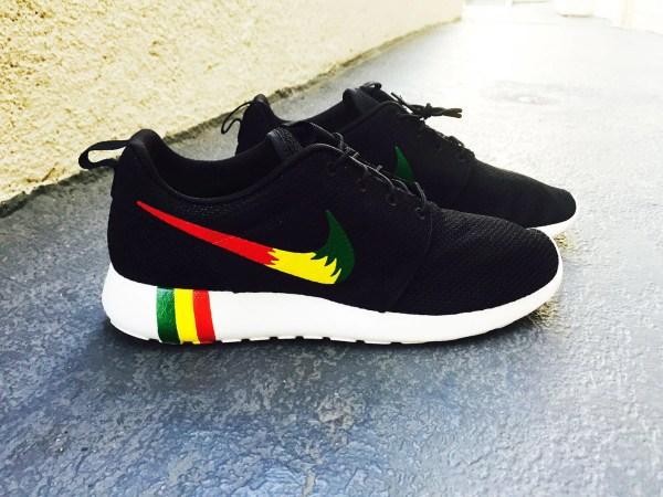 Womens And Mens Custom Rastafari Color Nike Roshe Run