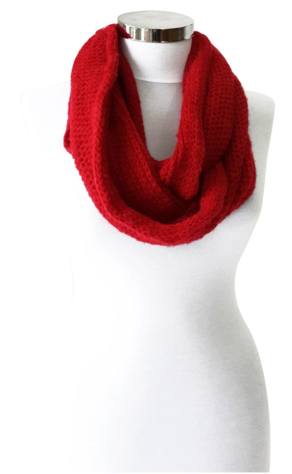 Valentine' Day Red Scarf Knitted Infinity Winter