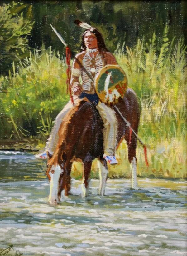 Western Artist Ron Stewart Oil Painting Quiet