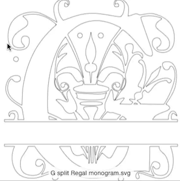 Split Regal Monogram letter G only in SVG format by