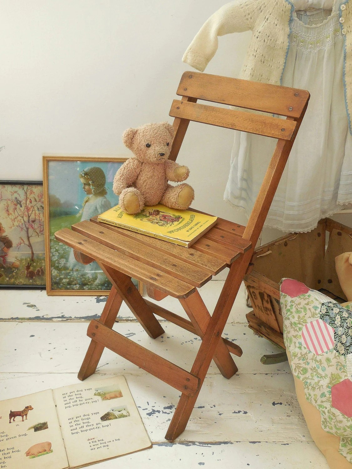 folding chair for child solid wood ladder back chairs vintage 39s wooden kids