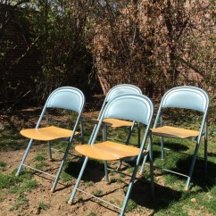 Blue Metal Folding Chairs Chair Rubber Feet Vintage American Seating Company W Wood Seat Collapsible Usa Made Set Of Four