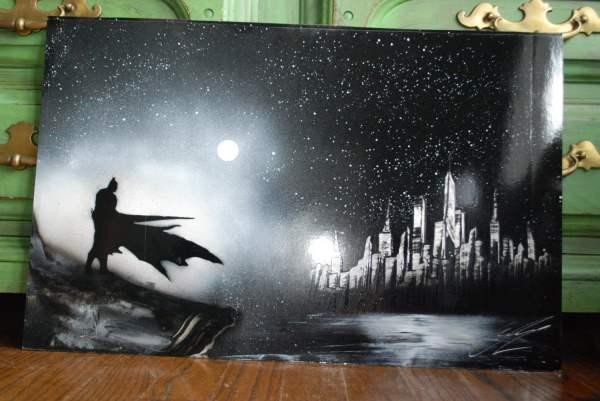 Bat Man Poster Spray Paint Art York Skyline In Black