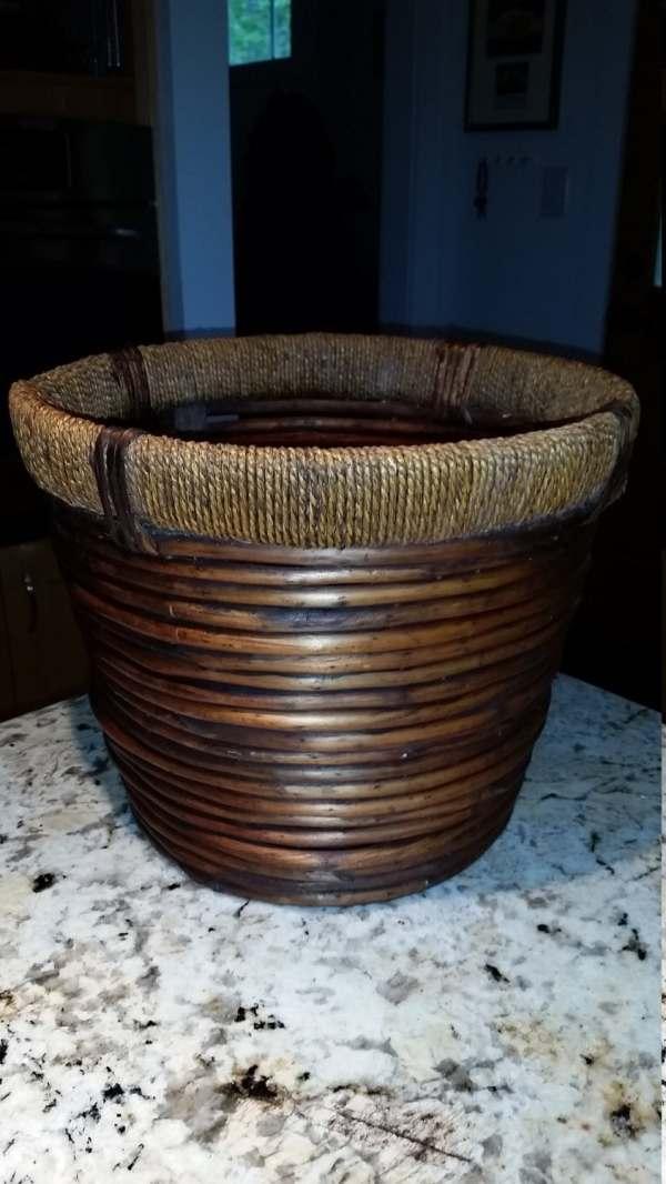 Vintage Rattan Waste Basket Thegreenduckshop