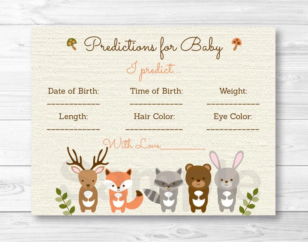 Woodland Forest Animal Baby Predictions Card Baby Shower Game