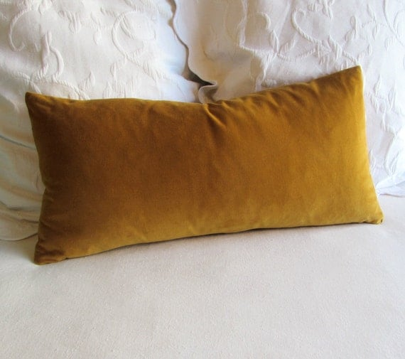ANTIQUE GOLD velvet lumbar bolster pillow 13x26