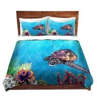 Duvet Set Sea Turtle Painting Nature Modern Bedding Queen