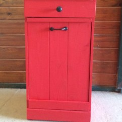 Red Kitchen Trash Can Best Sink Material Rustic Tilt Out Bin By Repurposemama