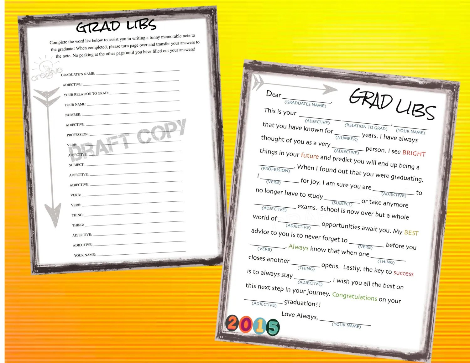Graduation Games Mad Libs Instant Download By