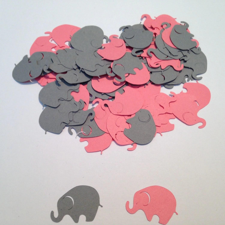 Pink Gray Elephant Confetti Elephant Cut Out Elephant Baby