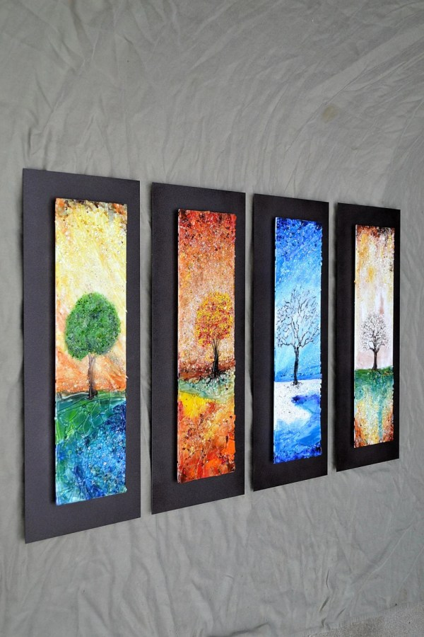 Four Seasons Fused Glass Wall Art With Textured
