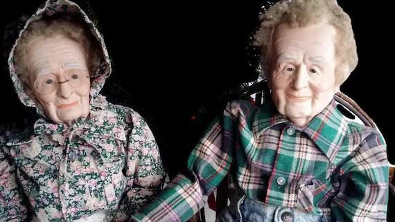 Pair of Vintage Grandpa and Grandma Dolls Handmade Porcelain