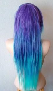 scene wig. emo teal purple