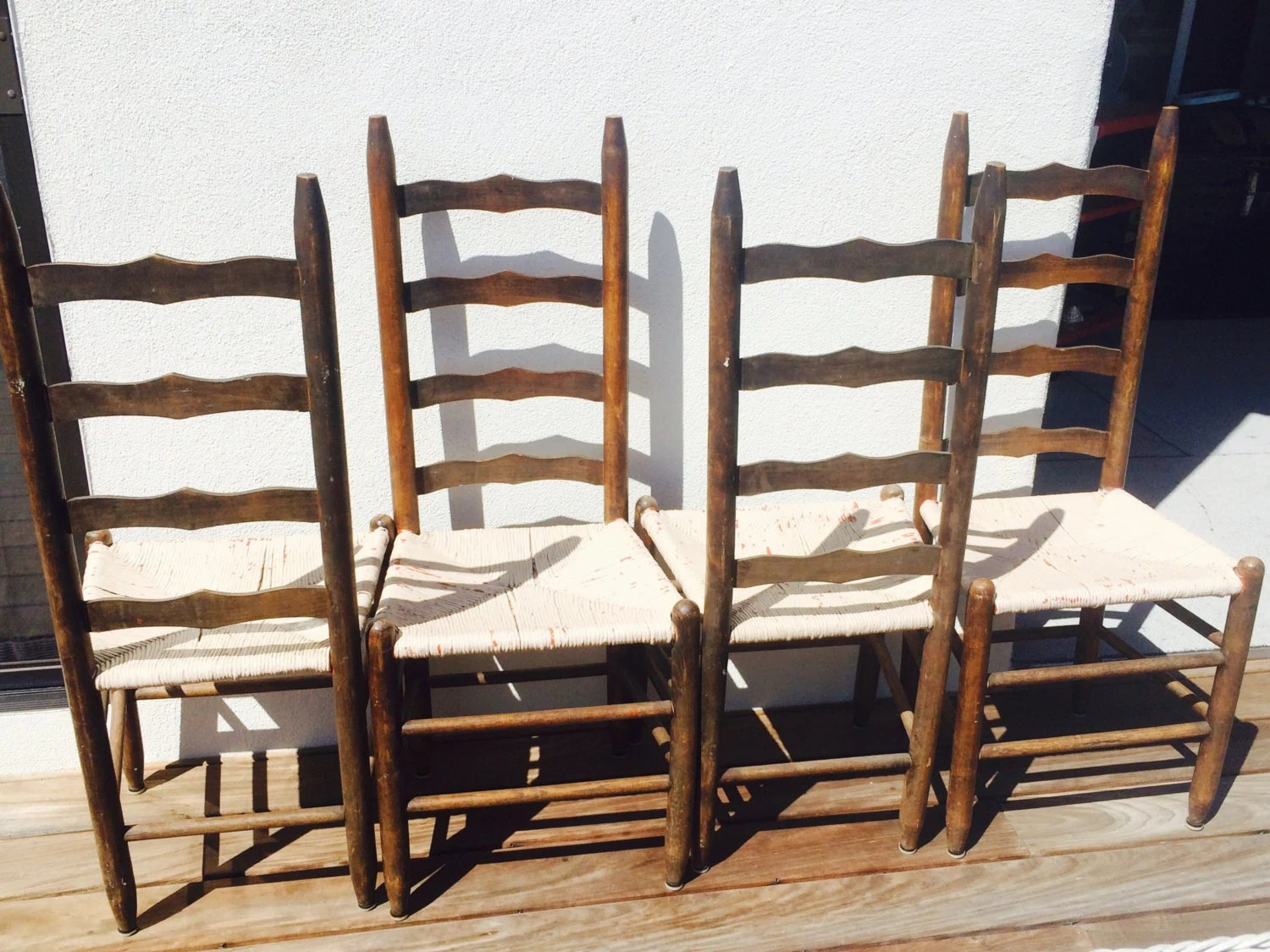 white ladder back chairs rush seats queen anne dining vintage ladderback seat four 4 by
