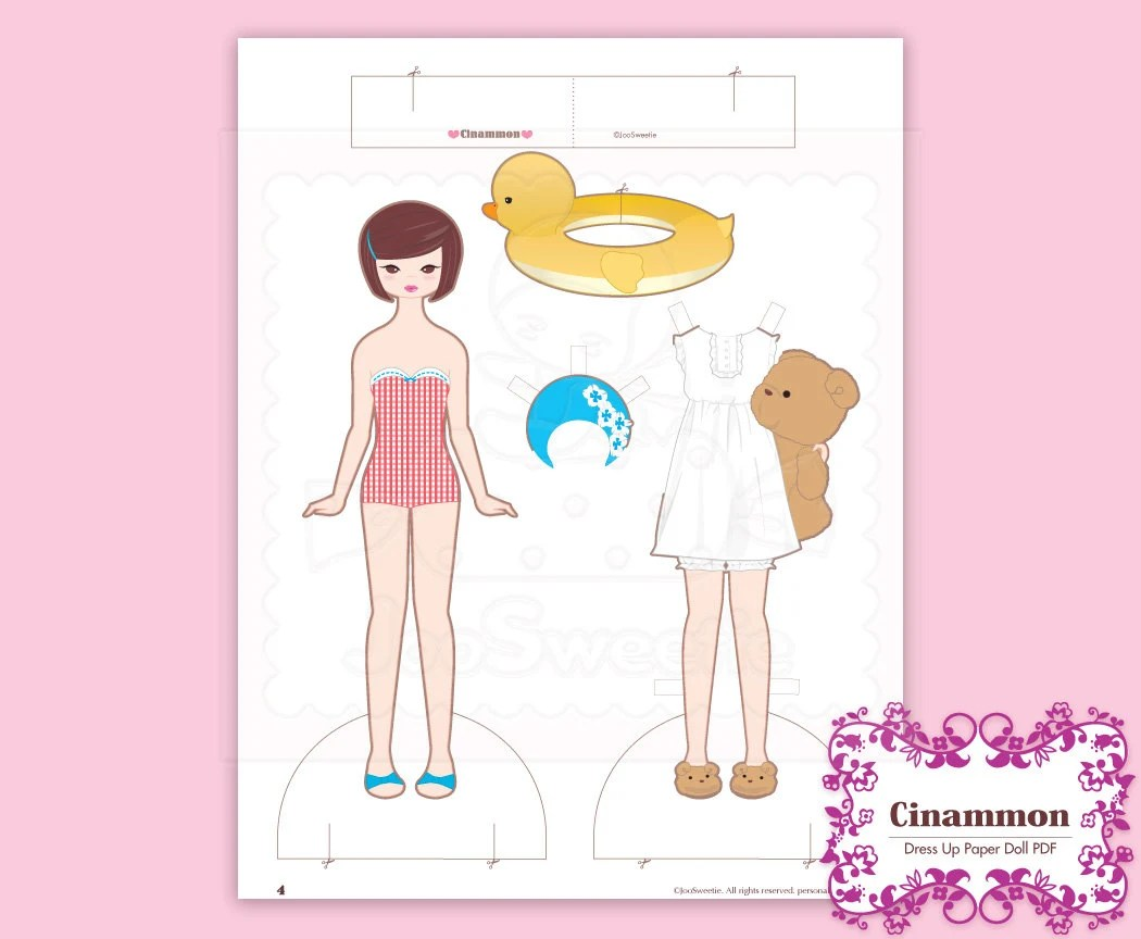 Cinammon Dress Up Paper Doll Printable Download