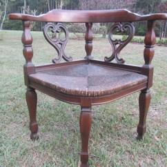 Wooden Corner Chair Dorm Lounge Vintage Mid Century Wood