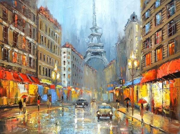 Paris Night Dmitry Spiros Oil Painting Wall Art