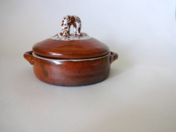 Bowl With Lid Stoneware Cheese Baking Dish Rustic Pottery