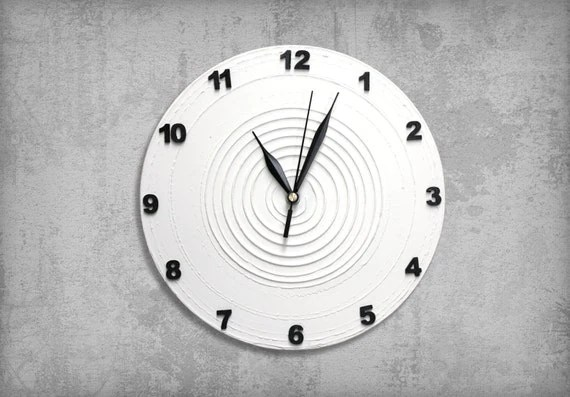 Items Similar To WHITE Clock Modern WALL CLOCK, White Wall