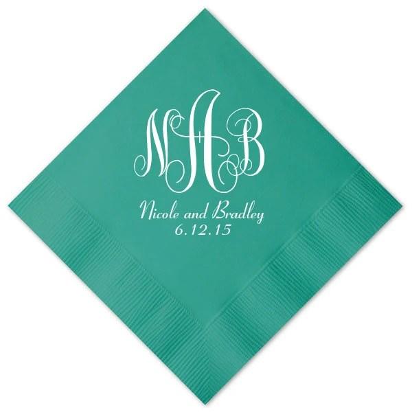 100 Personalized Napkins Wedding Napkins Custom Monogram