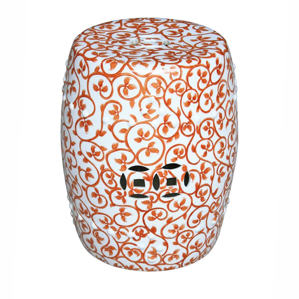 Decorative Chinese Porcelain Orange And White Vine Motif