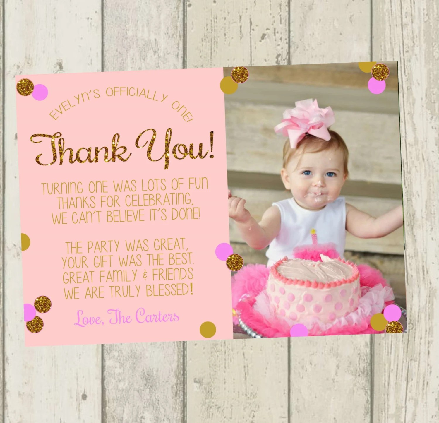 First Birthday Thank You Card Pink & Gold Glitter Thank You