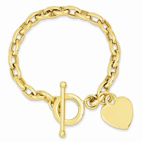 14K Yellow Gold Heart Toggle Bracelet Engraved Personalized