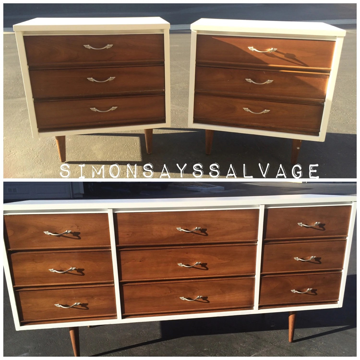 Mid Century Modern Dixie Bedroom Set white and brown modern