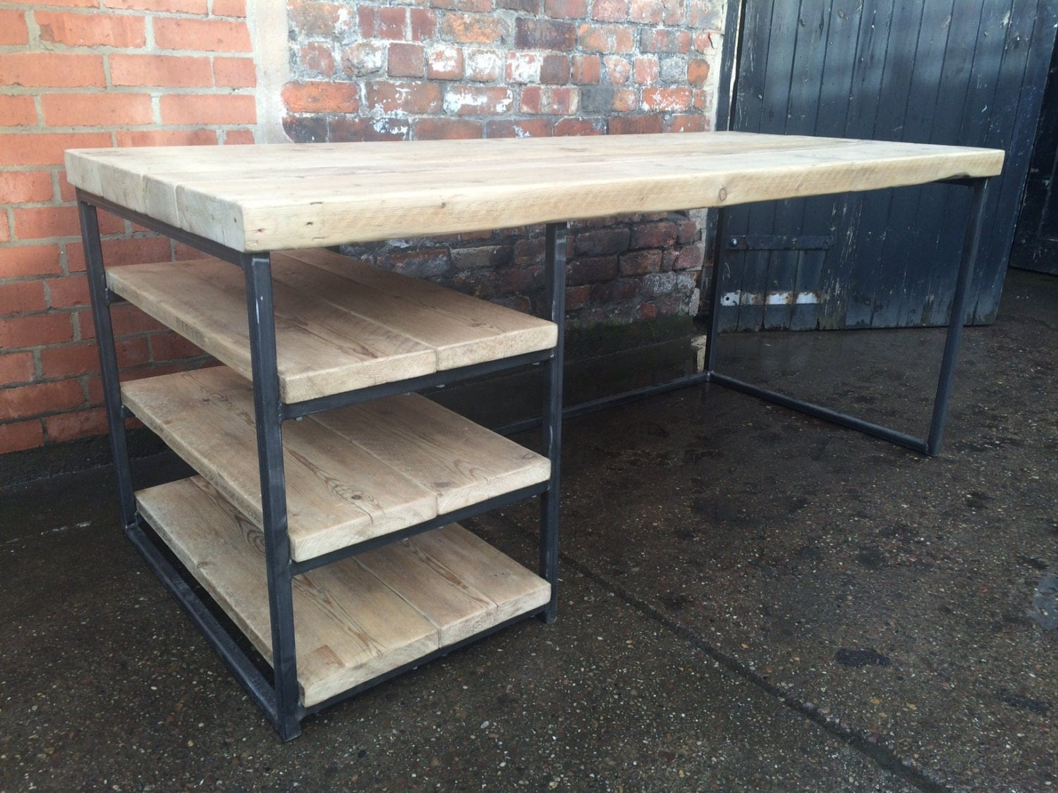 Reclaimed Industrial Chic Wood & Metal Desk Dining Table With