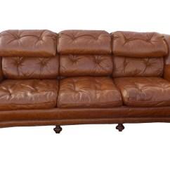 Vine Brown Leather Tufted Sofa Sofas Richmond Va Hollywood Regency Vintage