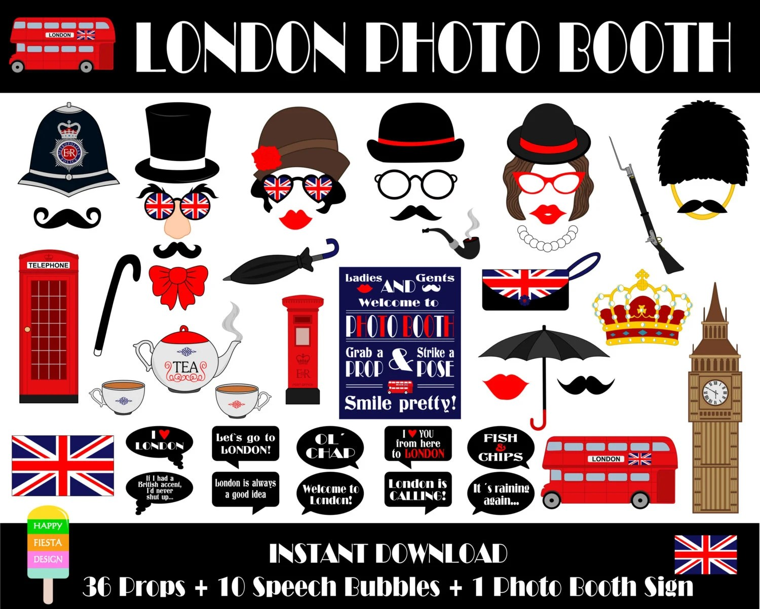 Printable London Photo Booth Props Printable Photo Booth