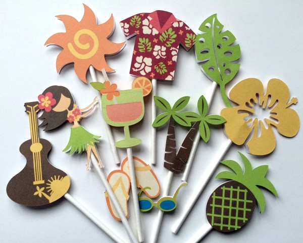 Luau Cupcake Toppers Party