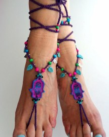 Boho Barefoot Sandals Hippie Hamsa Purple Hippy Gypsy